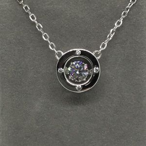 """Jewelry - Genuine Silver and CZ Dancing Pendant Circle 18"""""""